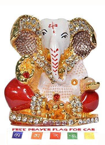 Hk Energized Beautiful Ganesha Idol For Car Dashboard Office Home Workplace Prayer Flag