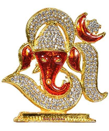 Hk Energized Beautiful Red Om Ganesha Idol For Car Dashboard Office Home Workplace